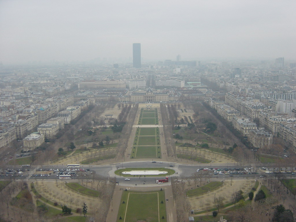View on the Parc du Champs de Mars, the �cole Militaire and the Tour Montparnasse, from the higher floor of the Eiffel Tower