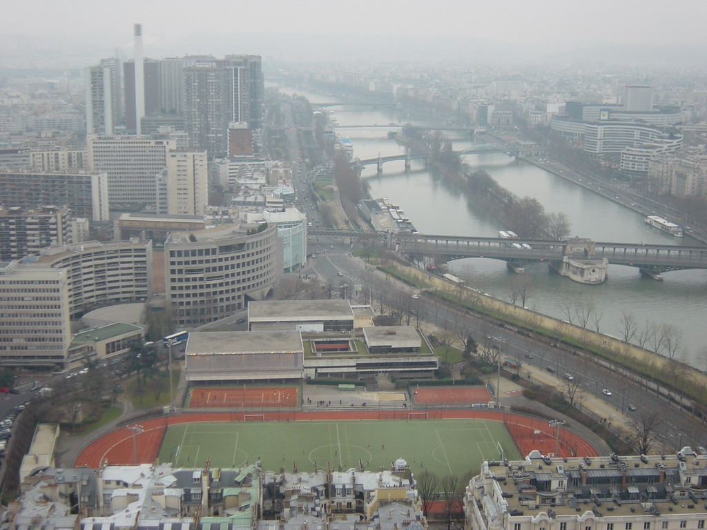 View on the Stade Emile Antoine, the river Seine and office buildings, from the higher floor of the Eiffel Tower