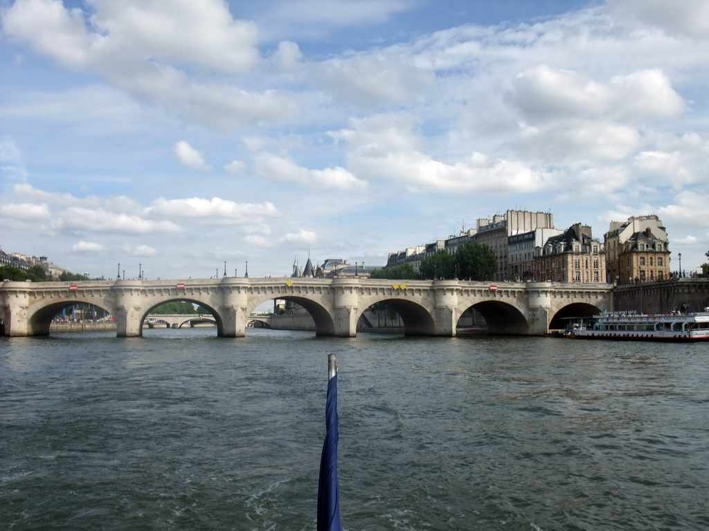 The pont neuf bridge over the seine river viewed from the seine ferry
