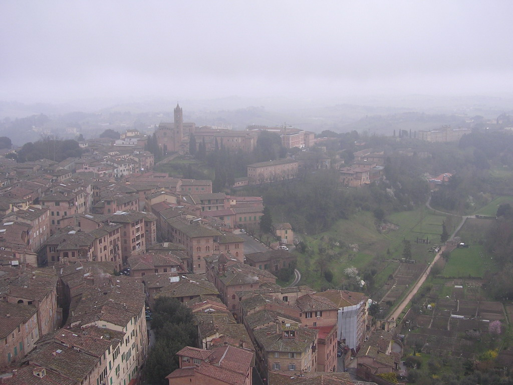 The southeast side of the city with the San Clemente in Santa Maria dei Servi church, viewed from the top of the Tower of Mangia