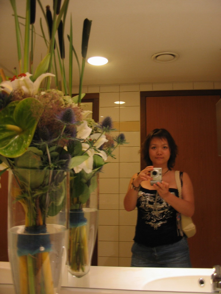 Miaomiao and a vase with plants at the Dorint Novotel hotel
