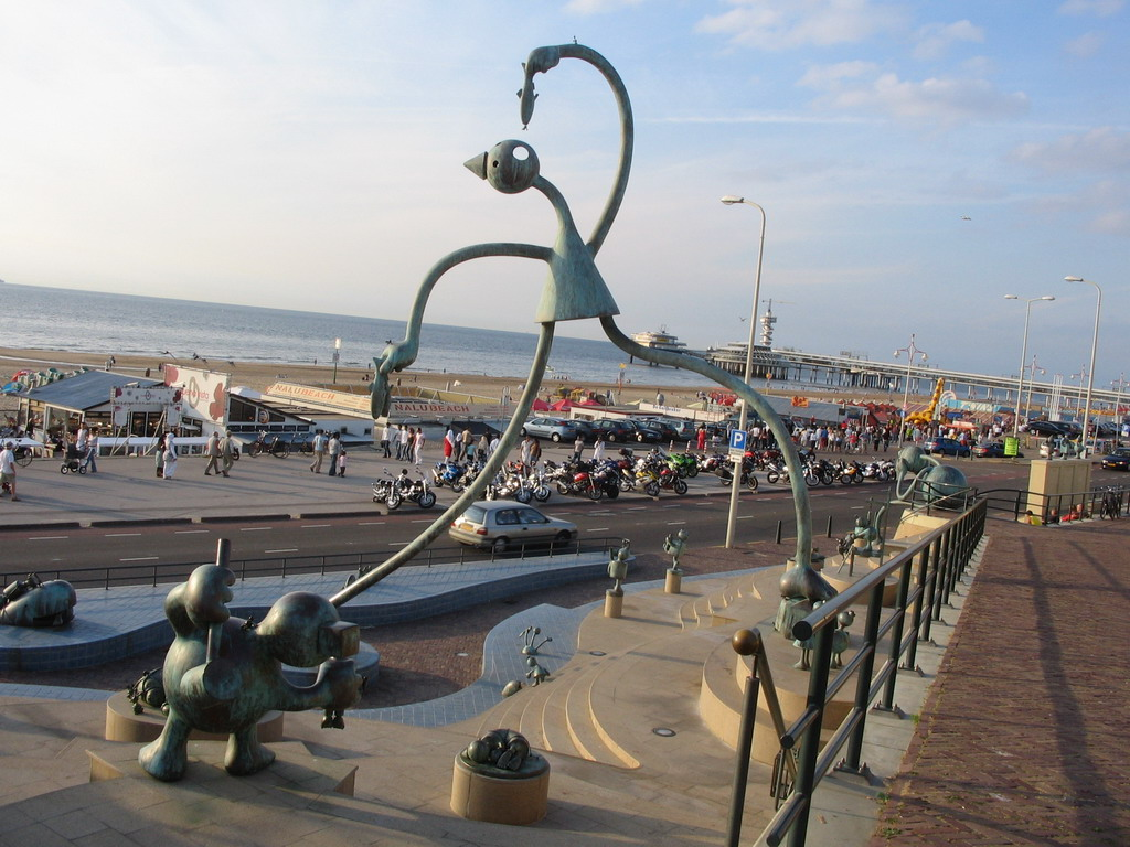 Statues at the Strandweg street and the Pier of Scheveningen