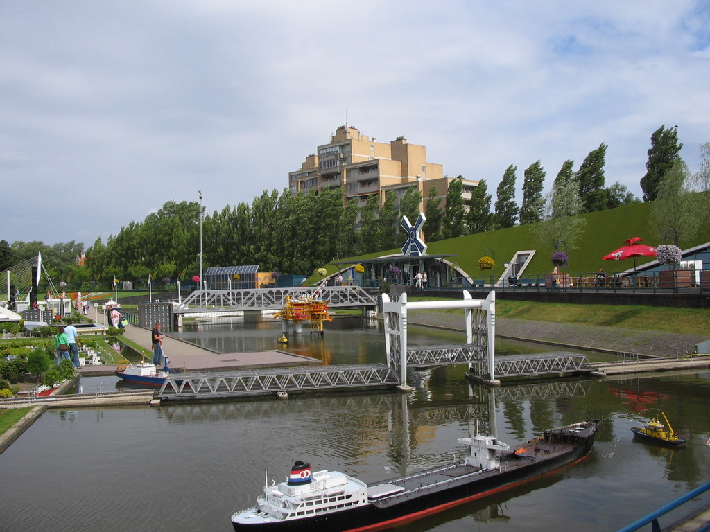 Scale models of a harbour and bridges at the Madurodam miniature park, viewed from the entrance