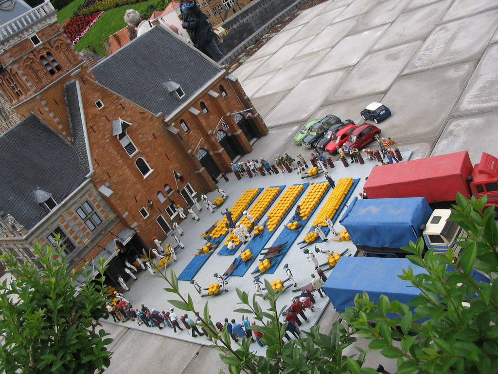 Scale model of the Waagplein square with cheese market of Alkmaar at the Madurodam miniature park
