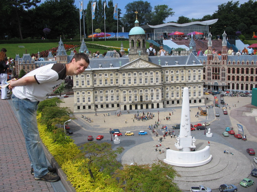 Scale model of the Dam square of Amsterdam with the Nationaal Monument, the Royal Palace Amsterdam and the Magna Plaza shopping mall at the Madurodam miniature park