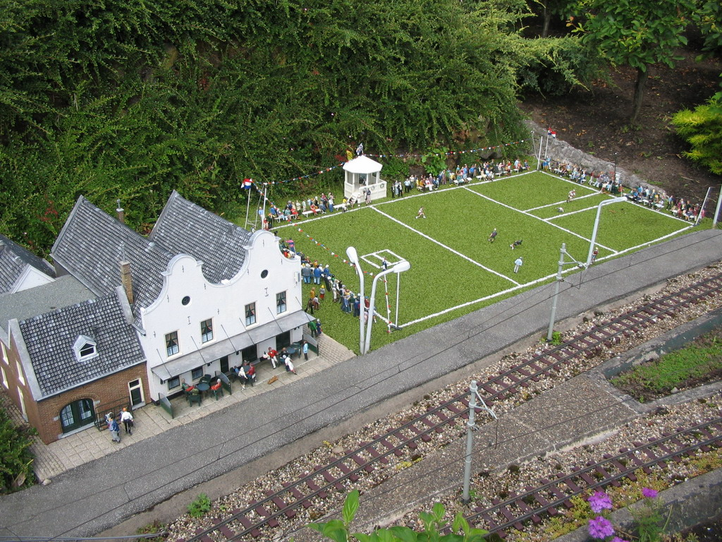 Scale model of a sports field at the Madurodam miniature park