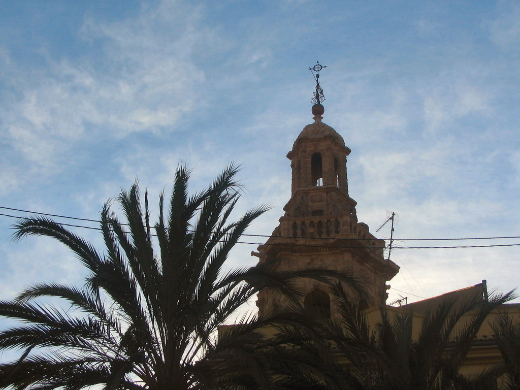 The tower of the Iglesia de Santa Catalina church, viewed from the Pla�a de la Reina square