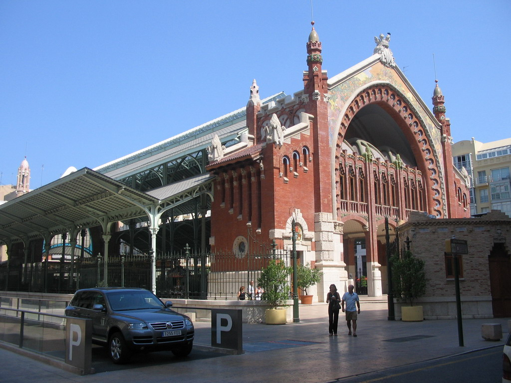 Northwest side of the Mercado de Col�n market at the crossing of the Carrer de Jorge Juan and Carrer Cirilo Amoros streets