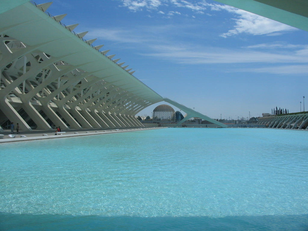 The pond at the southwest side of the Museu de les Ci�ncies Pr�ncipe Felipe museum and the Oceanogr�fic aquarium with the Wetlands Aviary at the Ciudad de las Artes y las Ciencias complex