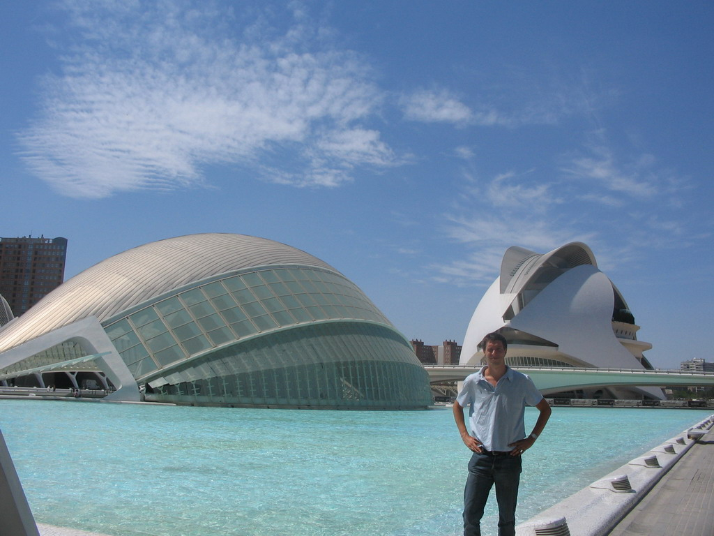 Tim in front of the pond at the northeast side of the Hemisf�ric cinema and the Palau de les Arts Reina Sofia art center at the Ciudad de las Artes y las Ciencias complex
