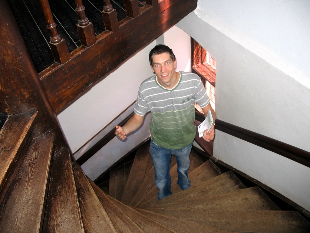 Tim on the staircase at Wijchen Castle