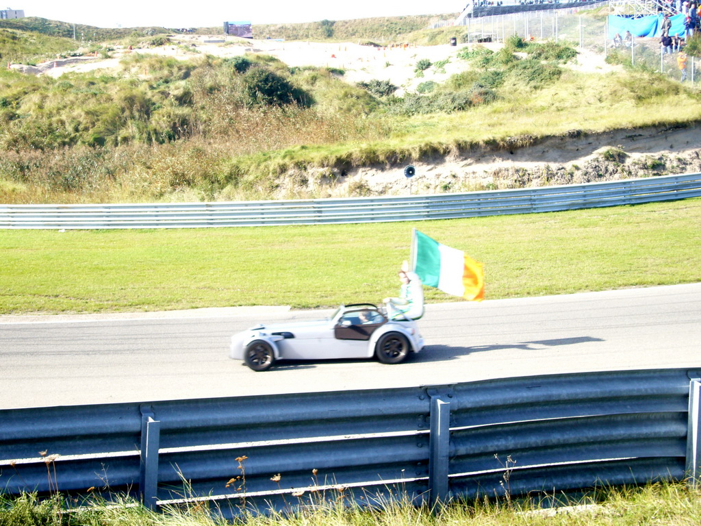Old race car with Ralph Firman and the Irish flag at Circuit Zandvoort, before the Main Race of the 2007-08 Dutch A1 Grand Prix of Nations